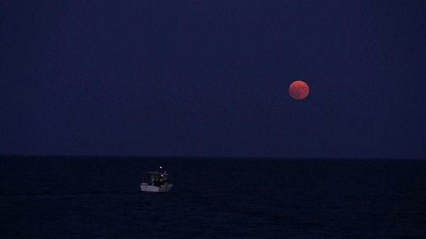 Watch: Full moon casts a glow by Greece's Koroni castle