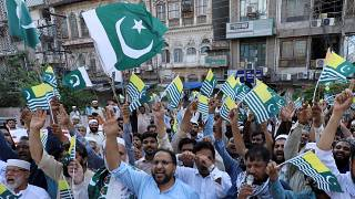 A rally in Pakistan to protest against the special status of Kashmir by the Indian government