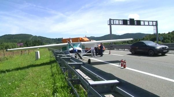 Small plane makes emergency landing on main highway in Croatia