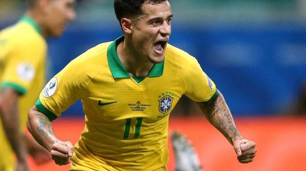 Philippe Coutinho festeggia dopo un gol nell'edizione 2019 della Copa America, vinta proprio dal Brasile.