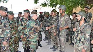 General Ali Abdullah Ayyoub, Syria's Defense Minister visits army soldiers in al-Hobeit in Idlib province