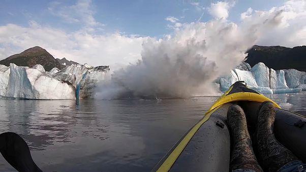 Впечатляющее видео обрушения ледника Спенсера на Аляске