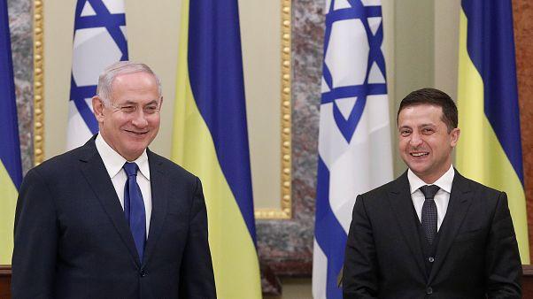 Ukrainian President Volodymyr Zelensky and Israeli Prime Minister Benjamin Netanyahu in Kyiv on August 19, 2019.
