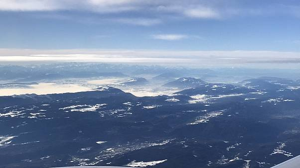 View over the Alps en route to Geneva
