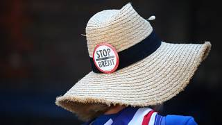 متظاهرة ضد البريكست أمام مكتب رئيس الوزراء البريطاني