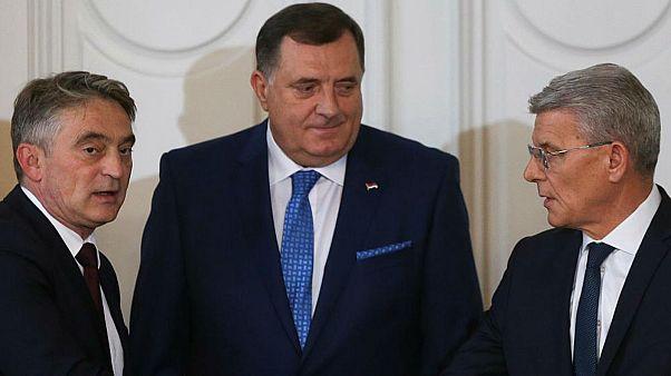 (L-R) Zeljko Komsic, Milorad Dodik, Sefik Dzaferovic