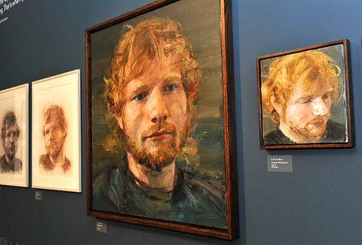 An oil portrait of Ed Sheeran by artist Colin Davidson