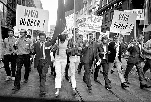 Photograph of a demonstration in Helsinki to support Czechoslovakia in 1968.