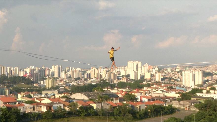 Brazilian slackliners defy gravity with Sao Paulo's abandoned buildings
