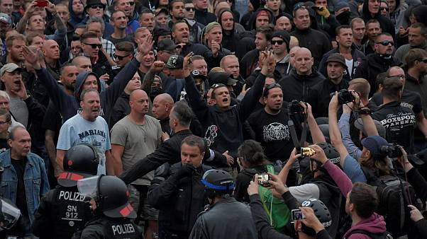 Far-right march in Chemnitz in late August 2018.