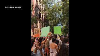 من المظاهرات في العاصمة الإسبانية مدريد