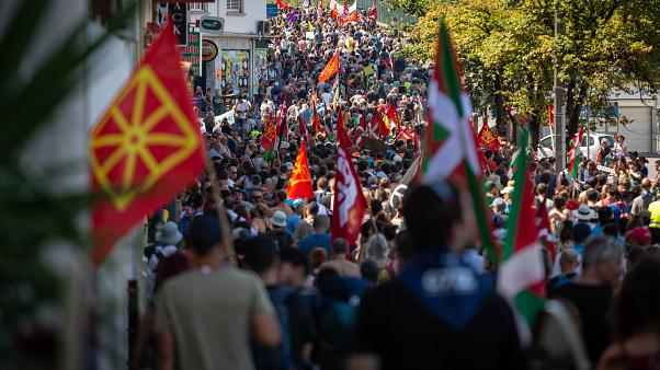 The 'Alternative G7' march through Hendaye, France, south of Biarritz