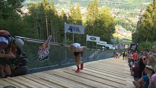 Autriche : courir sur une piste de saut à ski