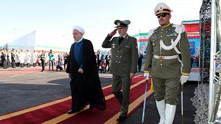 Iranian President Hassan Rouhani arrives to attend the unveiling ceremony for the domestically built mobile missile defence system Bavar-373 in Tehran, Iran August 22, 2019.