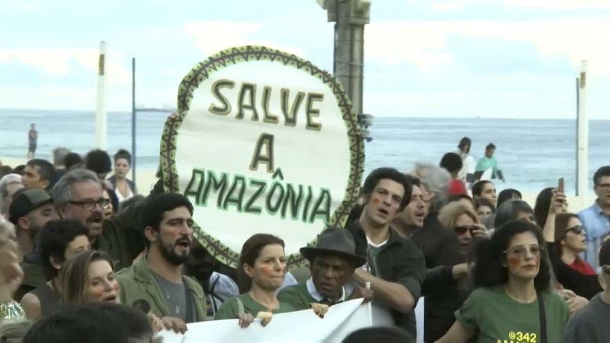ریودوژانیرو؛ معترضان خواستار اقدام دولت برای کنترل آتش سوزی آمازون شدند