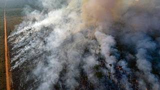 An aerial view of forest fire of the Amazon taken with a drone is seen from an Indigenous territory in the state of Mato Grosso, in Brazil, August 23, 2019.