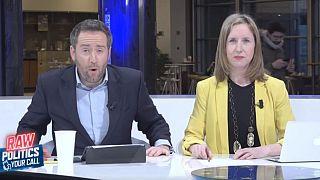 Darren McCaffrey and Méabh McMahon on the set of Raw Politics Your Call