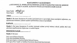 Kastamonu Valiliği, açık alanda alkol almayı yasakladı