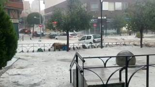 Madrid sous un orage de grêle, 26 août 2019