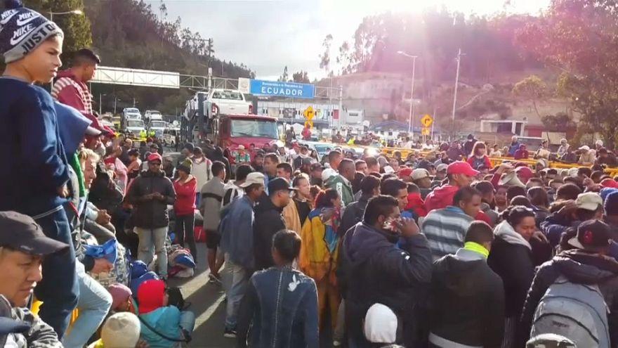 اعتراض مهاجران ونزوئلایی پس از بسته شدن مرز اکوادور