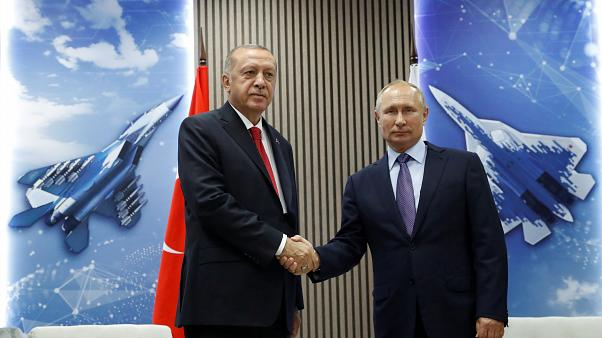 Russian President Vladimir Putin and Turkish President Recep Tayyip Erdogan in Russia, August 27, 2019.