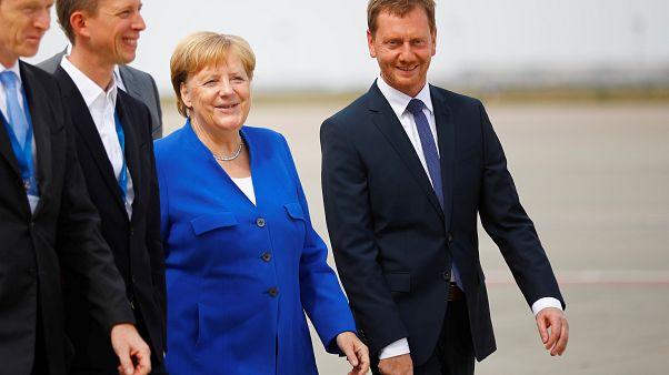 Angela Merkel mit Michael Kretschmer in Sachsen