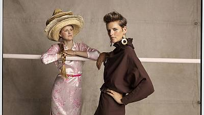 Stella Tennant and her youngest daughter Iris, styled by Bay Garnett