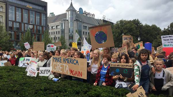 Students in front of the Norwegian Parliament building to demand government action to limit climate change, as part of the global movement inspired by Swedish stude