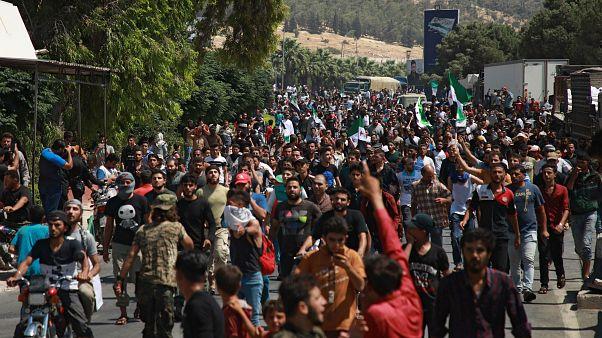 Türkiye Suriye sınırının Suriye tarafında gösteri düzenlendi / Babülhava