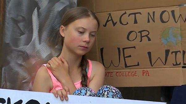 Тунберг протестует в Нью-Йорке