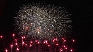 Fireworks light up night sky in Berlin during world championship
