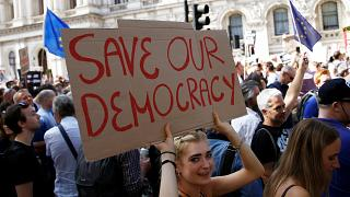 In pictures: The best placards from UK parliament shutdown protest