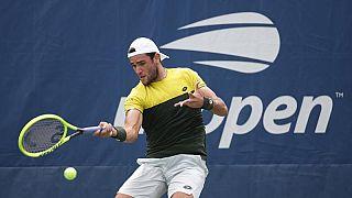 Matteo Berrettini in azione agli US Open.