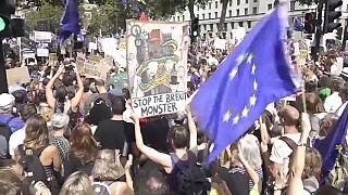 ویدیو؛ تظاهرات مردم بریتانیا در اعتراض به تعلیق فعالیت پارلمان