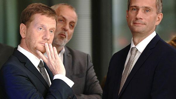 Martin Dulig,  do Partido Social Democrata alemão (SPD), e Michael Kretschmer, da União Democrata Cristã (CDU), líderes das listas na Saxónia