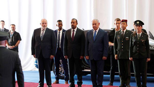 رئيس وزراء إسرائيل بنيامين نتنياهو مع نظيره الاثيوبي آبي أحمد
