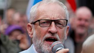 Britain's opposition Labour Party leader Jeremy Corbyn speaks during an anti-Brexit demonstration at George Square in Glasgow, Scotland, Britain, August 31, 2019.