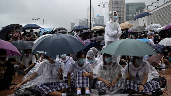 School students boycott their classes as they take part in a protest in Hong Kong