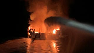Ventura County Fire Department personnel respond to a boat fire on a 75-foot (23-meter) vessel off Santa Cruz Island, California, U.S. September 2, 2019.