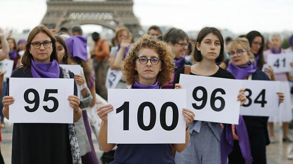 Watch: Protestors mark 100 domestic violence deaths in France in 2019