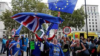 Anti-Brexit protesters demonstrate outside the Cabinet Office in London, Britain, September 2, 2019.