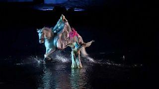 185 actors, stunt performers, acrobats and horsemen perform in the show