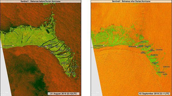 El este de las islas Bahamas, antes y durante el paso de huracán Dorian