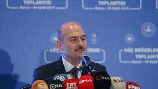 İçişleri Bakanı Süleyman Soylu, Bursa'da bir otelde düzenlenen Göç Değerlendirme Toplantısı'na katılarak konuşma yaptı. ( Barış Oral - Anadolu Ajansı )