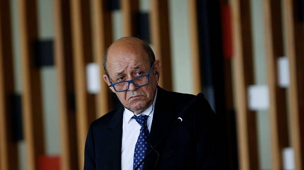 FILE PHOTO: French Foreign Minister Jean-Yves Le Drian speaks during a news conference at the Itamaraty Palace in Brasilia