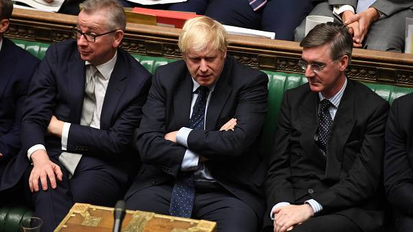 Britain's Prime Minister Boris Johnson (C) in the House of Commons in London, Britain September 3, 2019
