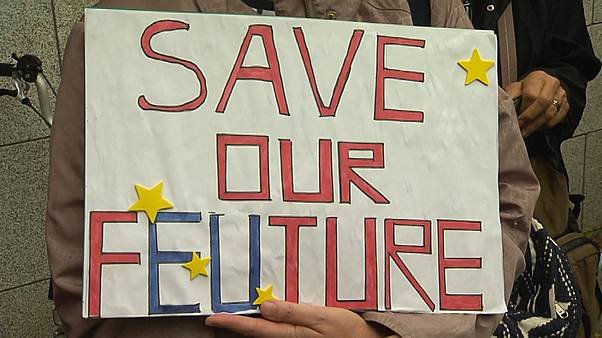 Britons protest outside British Embassy in Dublin