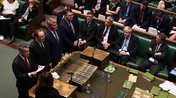 Britain's Prime Minister Boris Johnson sits as results of the vote are announced during debate in the House of Commons in London, Britain September 4, 2019.