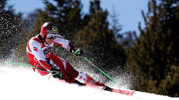 Marcel Hirscher, lors du slalom géant de Grandvalira en Andorre, le 16 mars 2019