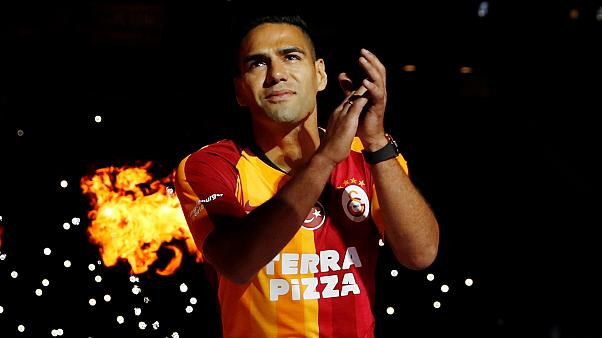 Turkish football club Galatasaray's hero's welcome for new striker Radamel Falcao